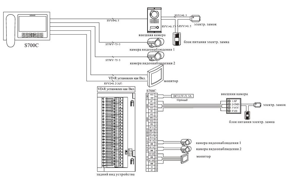 Наружная панель видеодомофона схема подключения